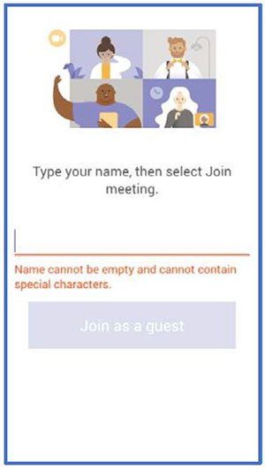 screenshot in teams of a blank space for you to type your name and then click join as guest