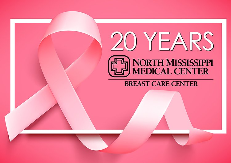 The NMMC Breast Care Center is celebrating 20 years. This is a pink background with a pink ribbon and text that says 20 Years