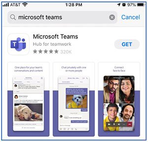 screenshot of the microsoft teams app in the apple app store