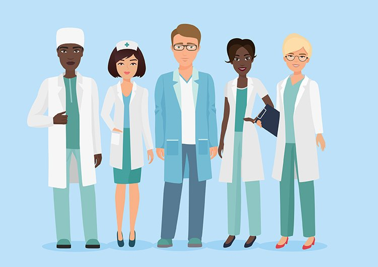 a cartoon of a varied group of medical professionals