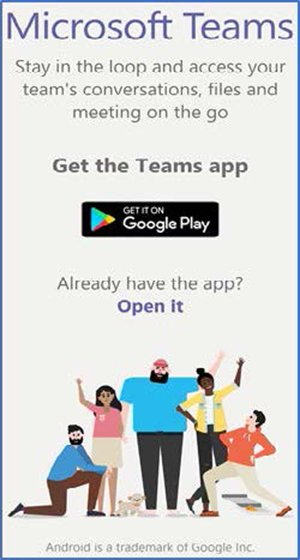screenshot of microsoft teams on the google play store