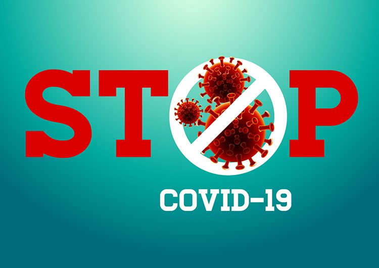 an image of a germ with the words in red STOP over it. Under it in white letters COVID-19 with a blue background