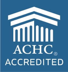 ACHC logo in white on a blue background