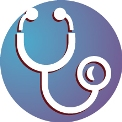 stethoscope against blue and purple background