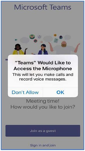 screenshot of a message saying that teams would like access to the microphone, with the option to click Don't Allow or OK