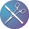 surgical instruments logo on purple and blue background