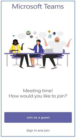 screenshot of microsoft teams app with a Join as Guest button