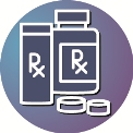 pill bottle outline against purple and blue outline