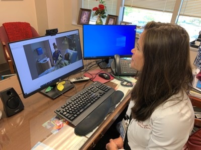 Dr. Mindy Prewitt working with telehealth